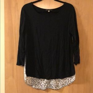 Fun black top with grey ombré button up back